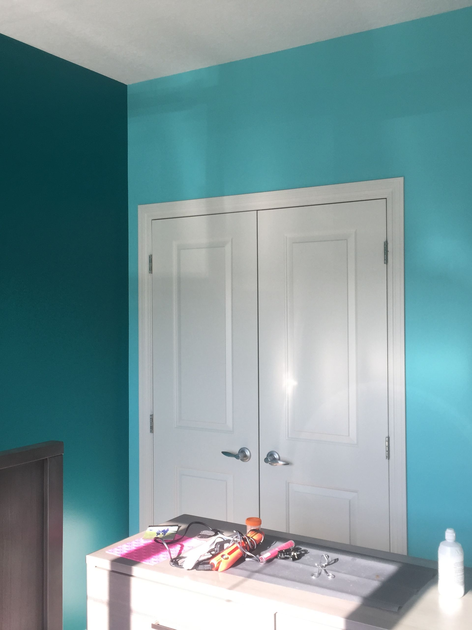 Blue wall painting after