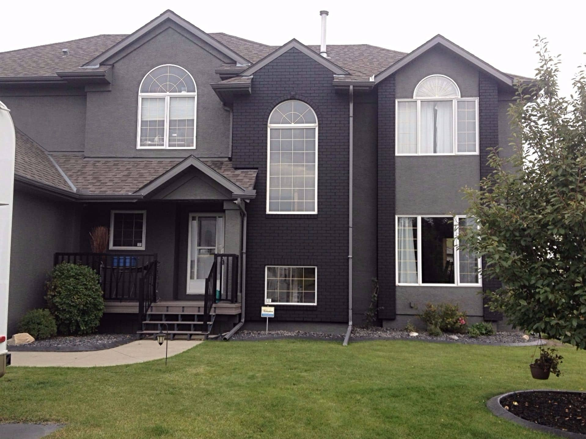 Stucco and brick painted after